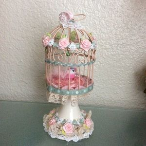 Shabby chic Bird in a lacy Cage Handcraft